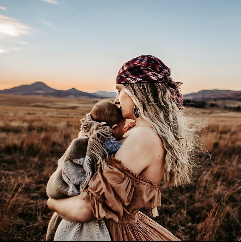 Motherhood boho images with head scarf | Ashley Reece | AHA