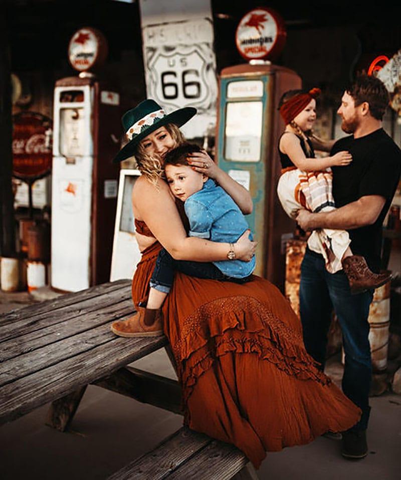 Mother Son Photoshoot Route 66 Arizona Boho | Stormy Solis presets| Tessa Rae Photography