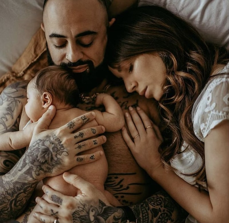 Tattooed family Newborn images | All Heart Stormy Solis